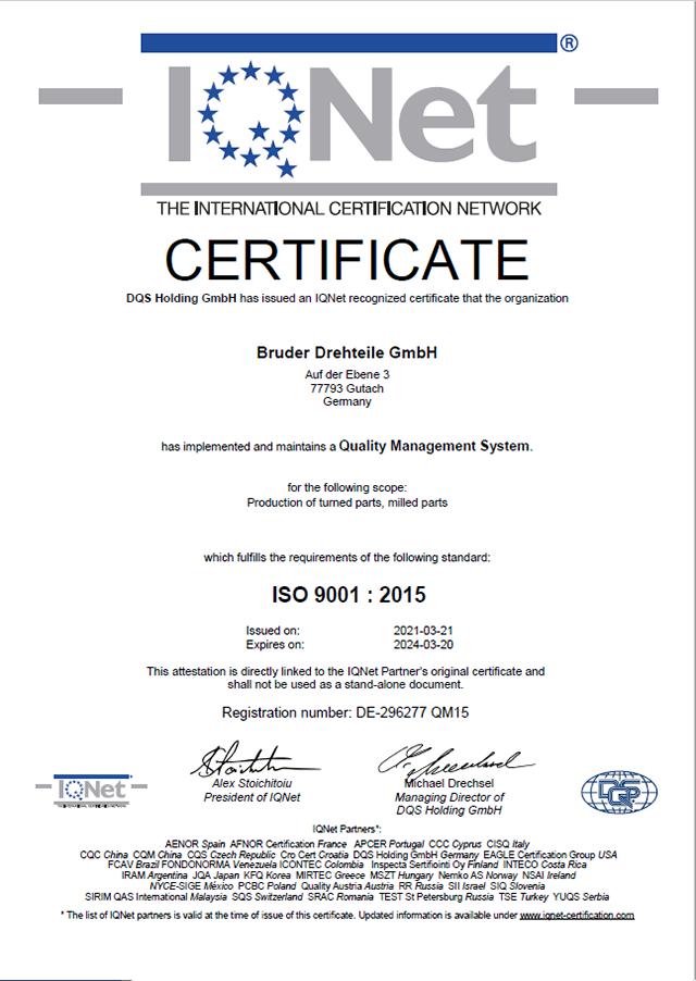 Zertifikat QM15 2021-03-21 IQNet